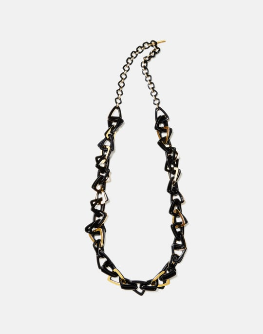 Long Triangle Linked Necklace