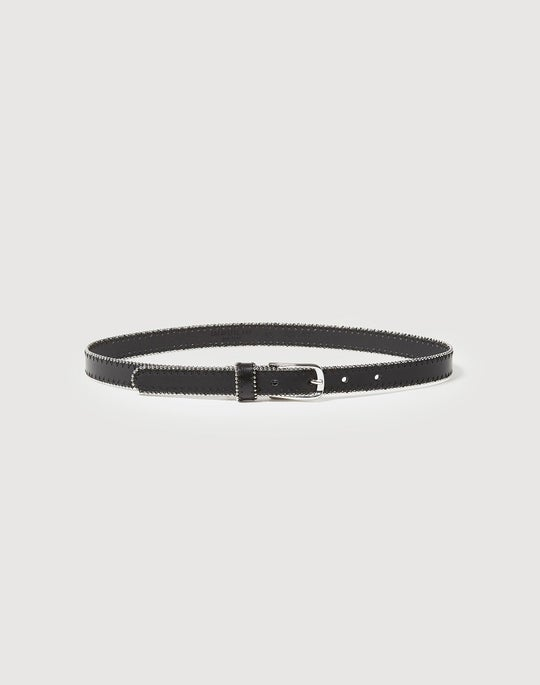 Italian Leather Ball Bearing Detail Belt