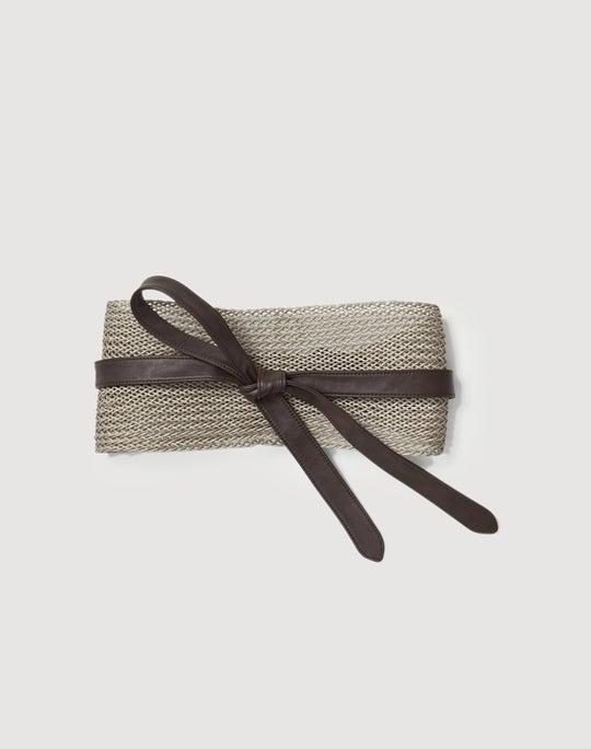 Raffia & Leather Obi Belt