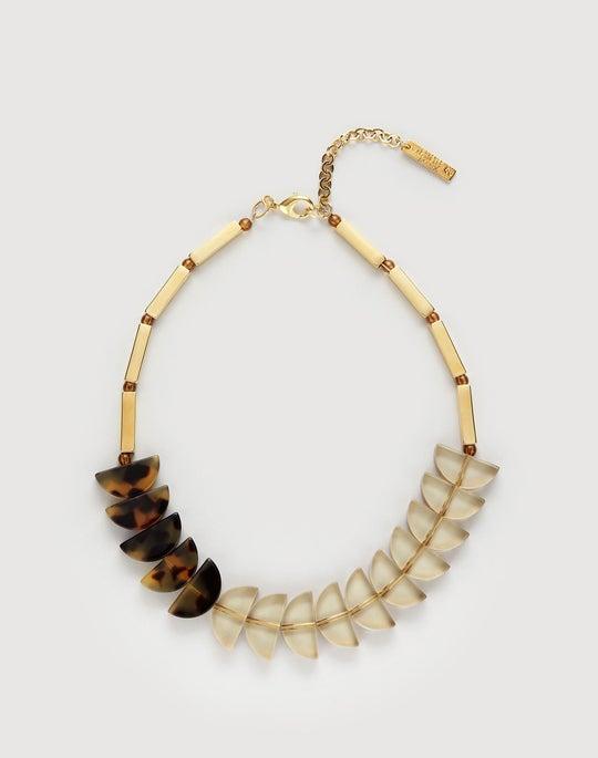 Two-Tone Tortoise Half Moon Necklace