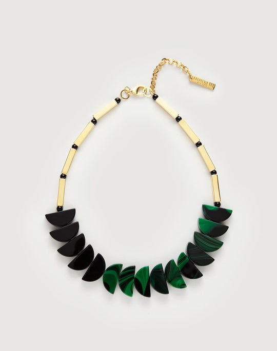 Two-Tone Half Moon Necklace