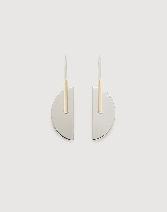 Two-Tone Half Moon Earring