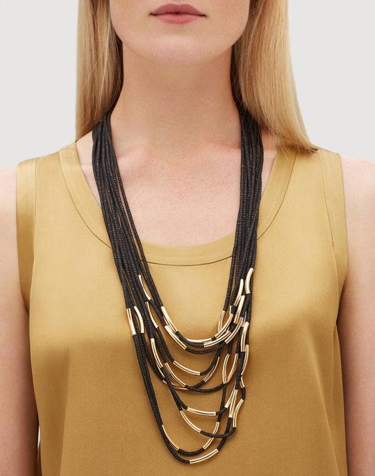 Long Signature Mesh Necklace