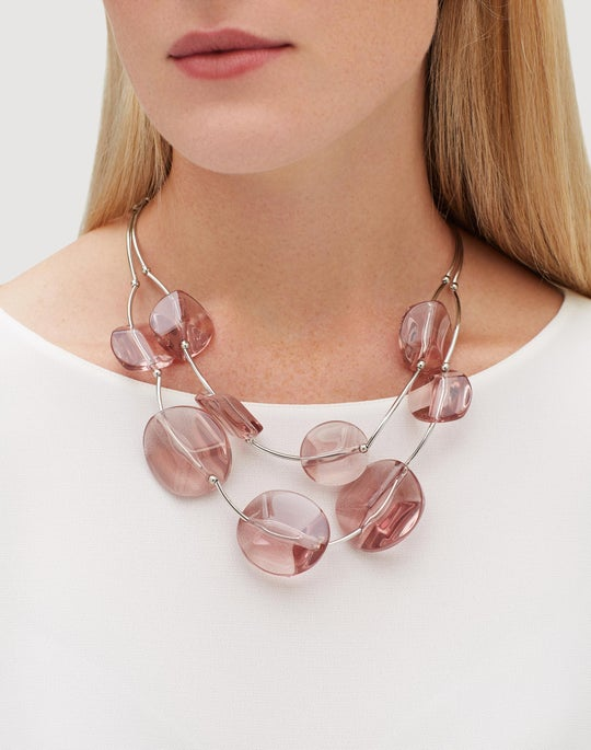 Lucite Stone Statement Necklace
