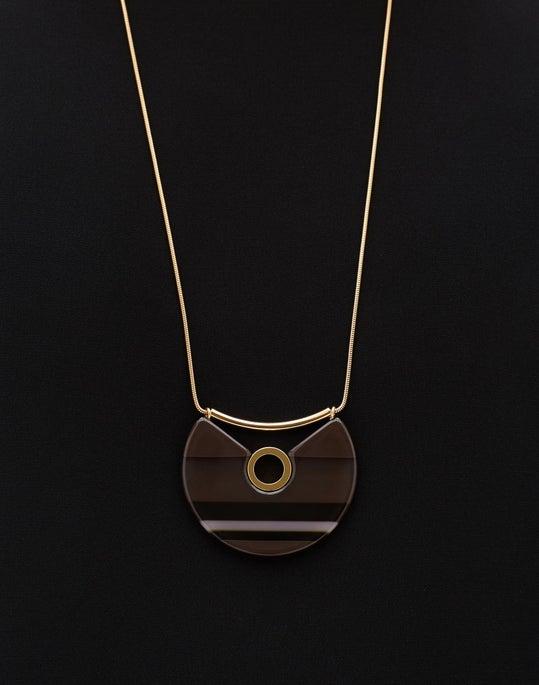 Tortoise Three Quarter Circle Long Pendant Necklace