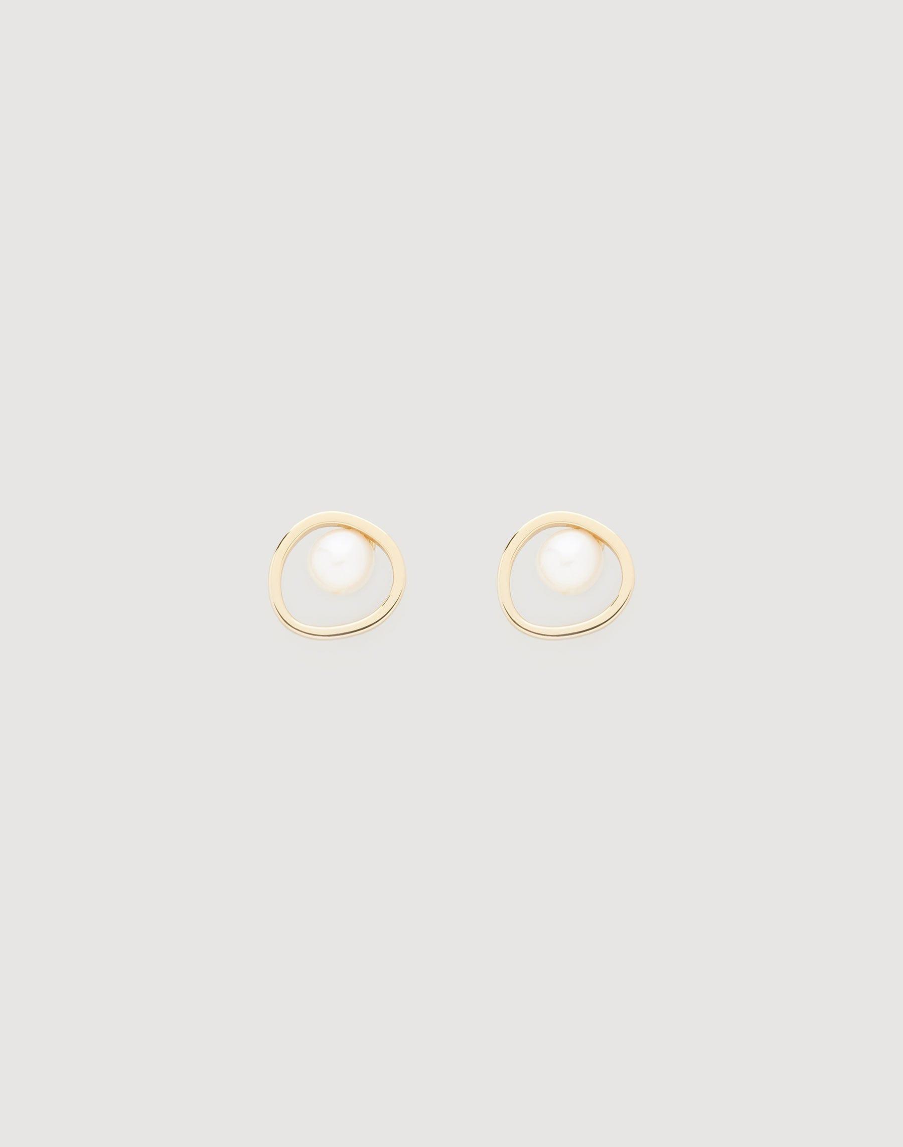 Lafayette 148 Freshwater Pearl Circle Stud Earrings In Gold