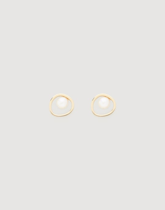 Freshwater Pearl Circle Stud Earrings