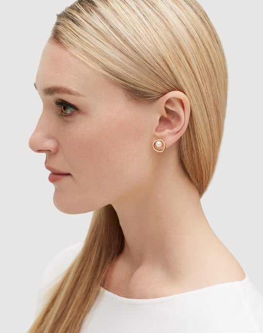Freshwater Pearl Circle Stud Earrings