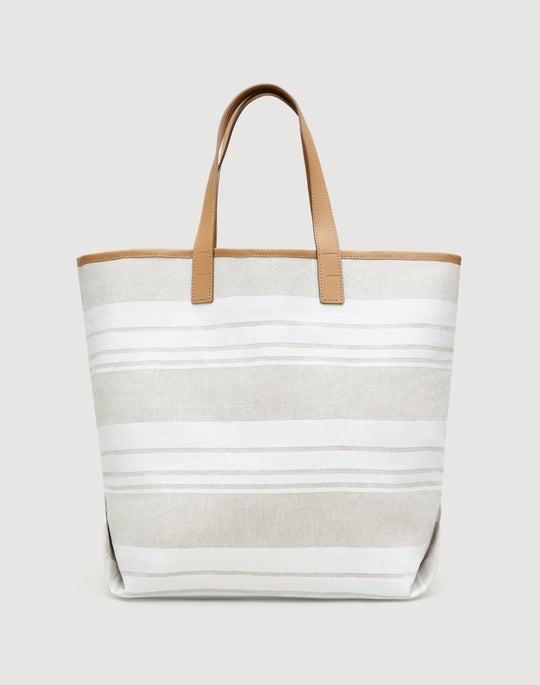 Gesso Striped Linen-Cotton Tote
