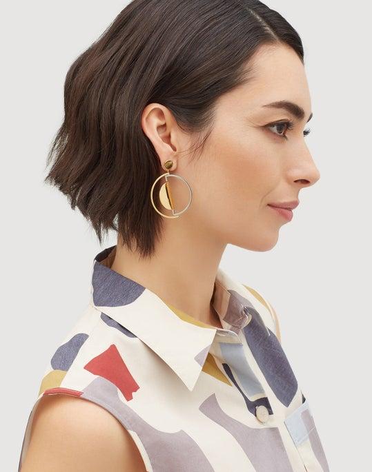 Crescent Linked Hoop Earrings