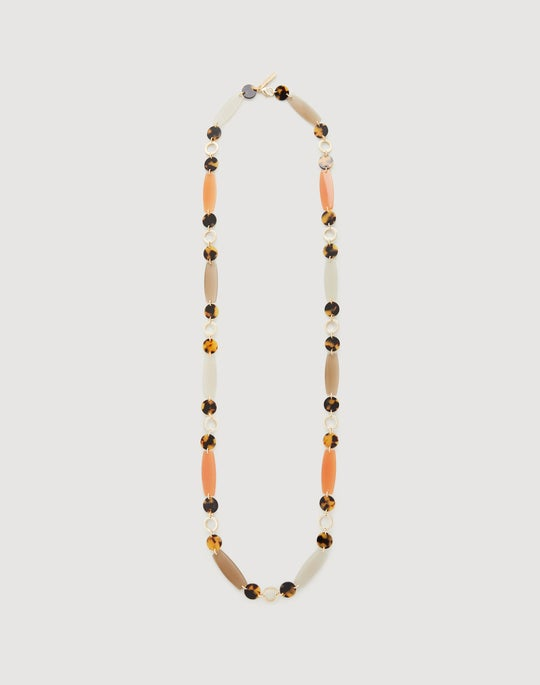 Flat Beaded Long Necklace