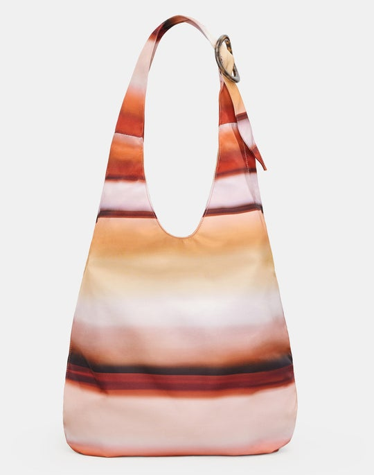 Striped Slouchy Hobo Bag