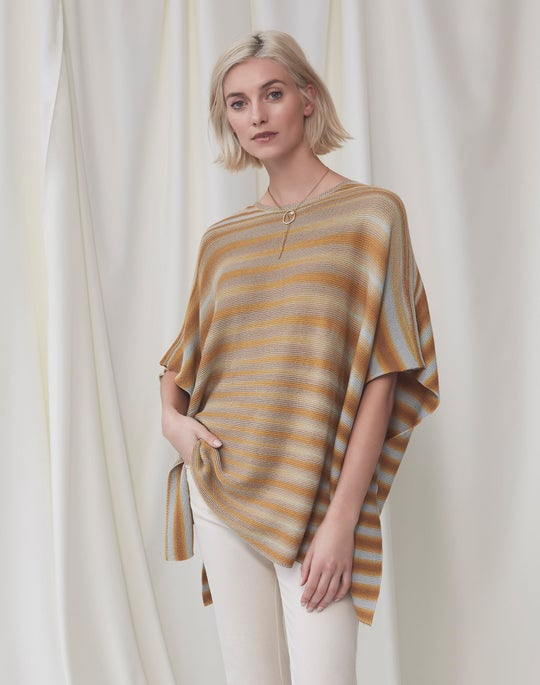 Knit Poncho and Natural Mercer Flare Jean