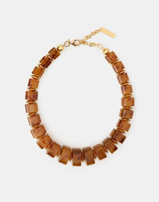 Resin And Metal Statement Necklace