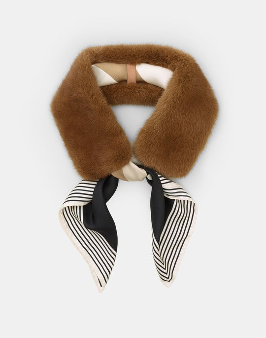 Mink Collar With Detachable Silk Scarf