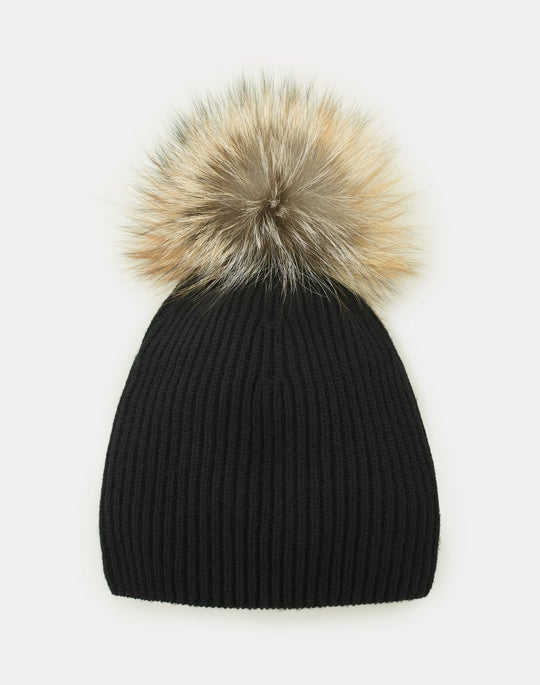 Fox Trim Cashmere Ribbed Hat