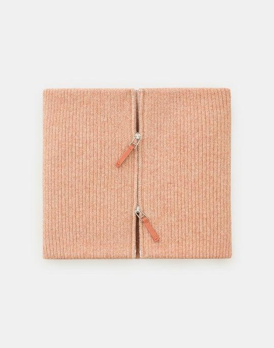 Front Zip Vanisé Rib Knit Collar