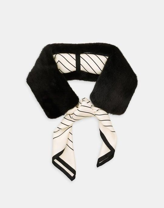 Mink Collar And Silk Scarf