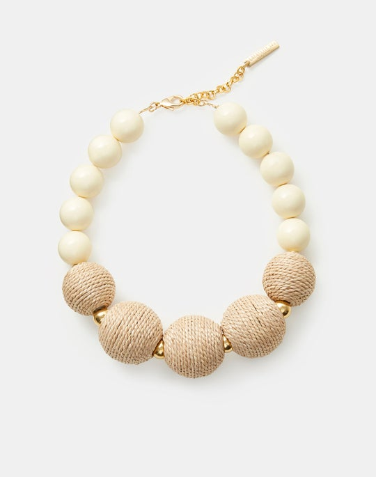 Raffia Bead Circle Necklace