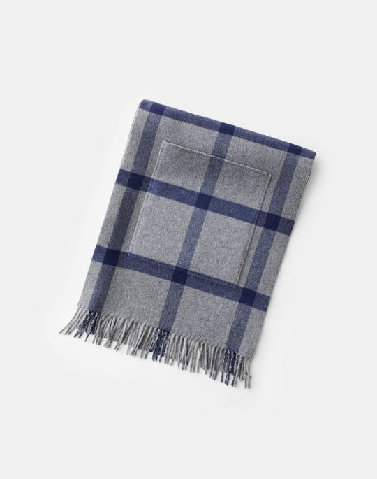 Windowpane Plaid Pocket Shawl