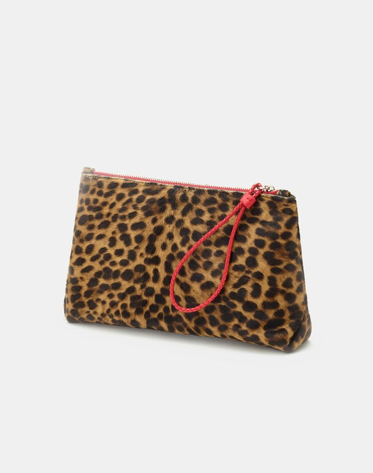 Cheetah Print Calf Hair Cosmetic Case