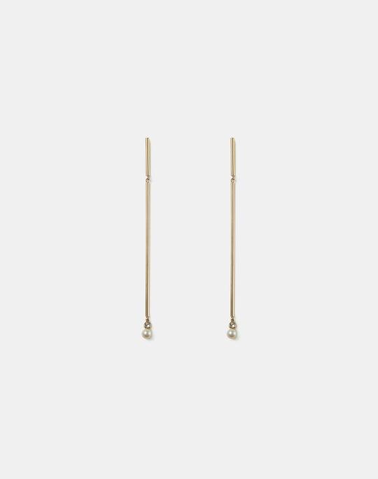 Freshwater Pearl & Crystal Linear Earring
