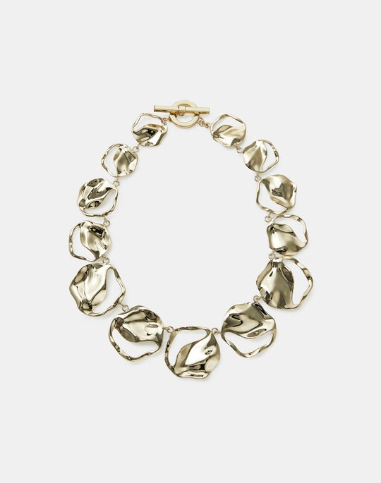 Sculptural Wave Disc Collar Necklace