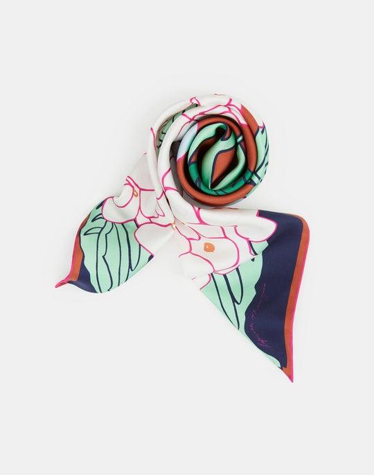 Double Hydrangea Print Silk Scarf