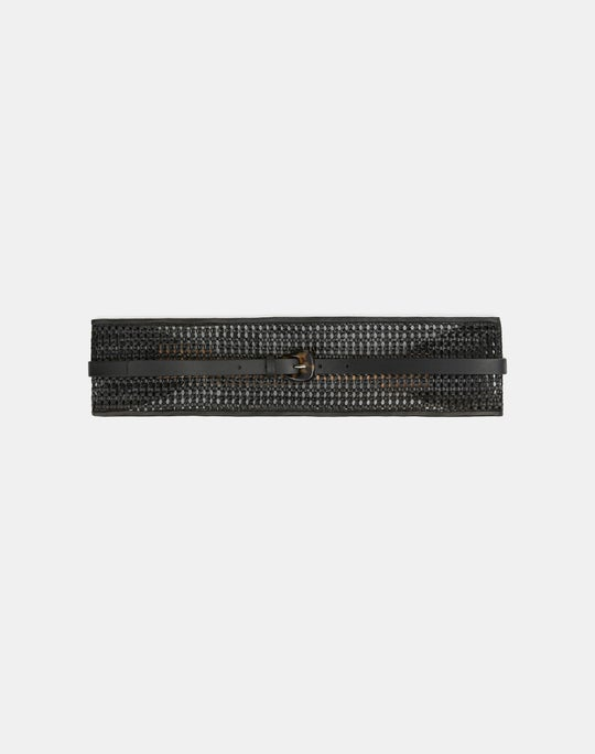 Woven Leather Obi Belt