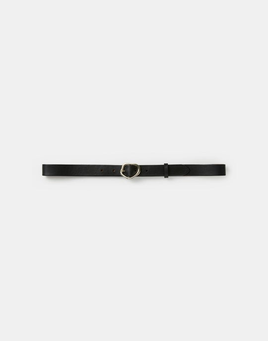 Italian Leather Irregular Circle Buckle Belt