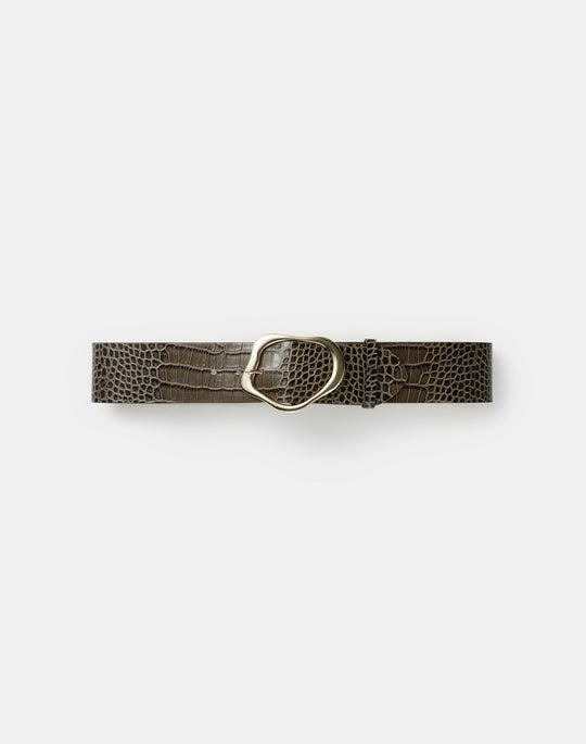 Italian Croc-Embossed Leather Irregular Circle Buckle Belt