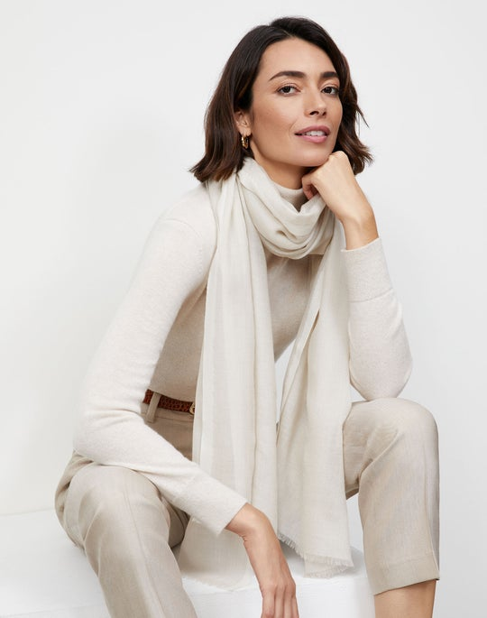 Cashmere Striped Fringed Scarf