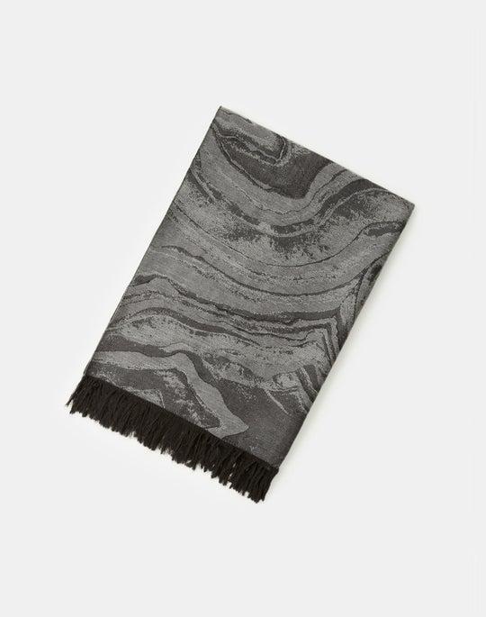 Jacquard Swirl Italian Wool-Silk Scarf