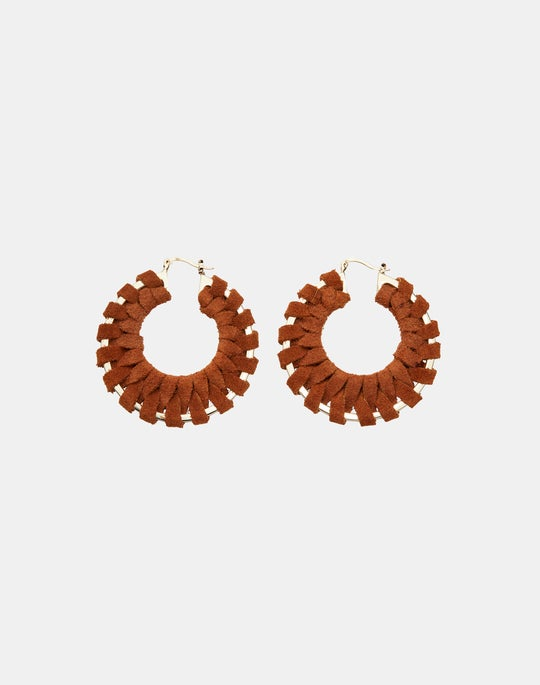 Hand-Wrapped Leather Hoop Earring