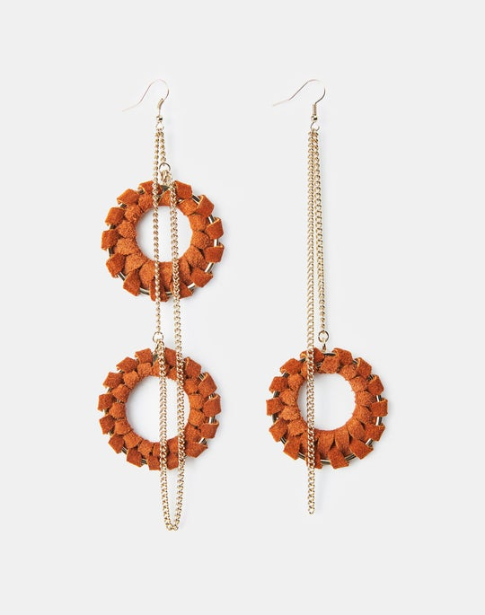 Hand-Wrapped Leather Asymmetric Drop Earring