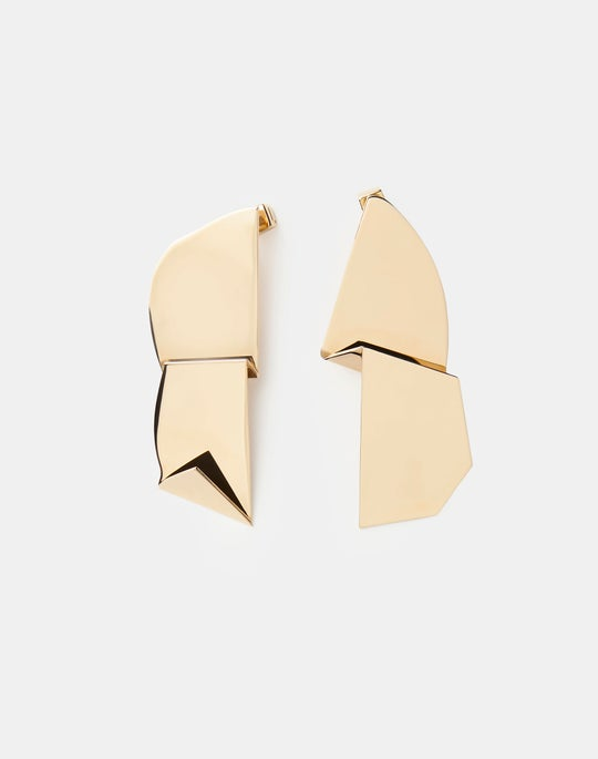 Abstract Gold Drop Earring