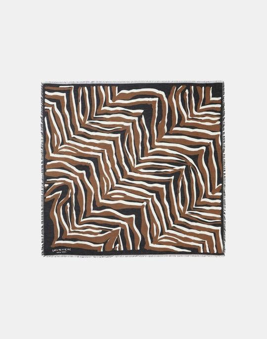 Italian Cotton-Silk Voile Mixed Zebra Print Scarf