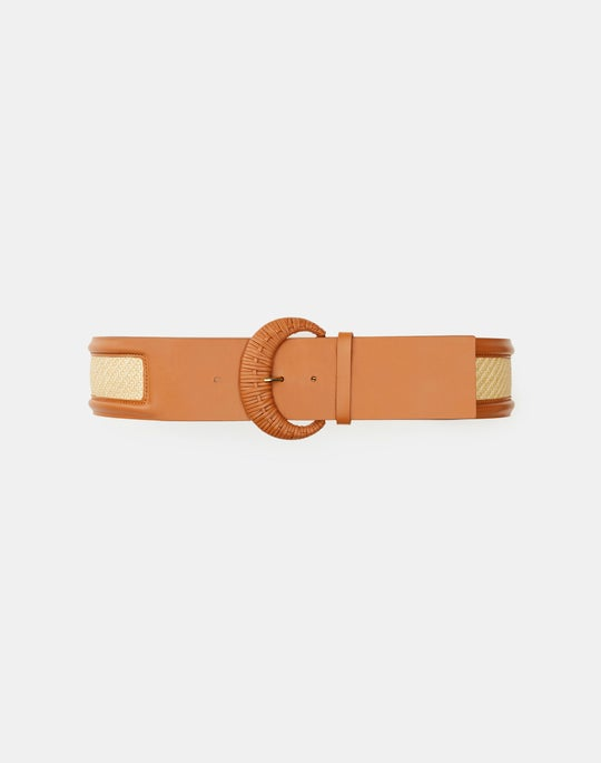 Italian Leather & Raffia Belt