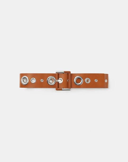 Italian Leather Grommet Belt