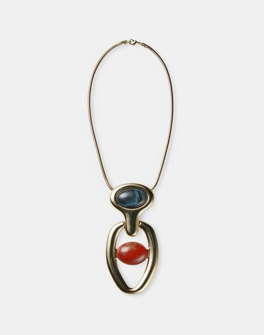 Helix Italian Stone Pendant Necklace