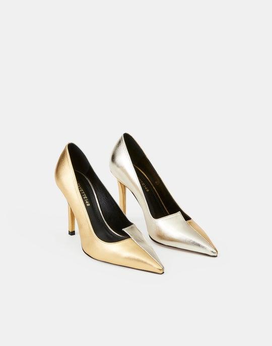 Metallic Leather Marilyn Asymmetric Heel