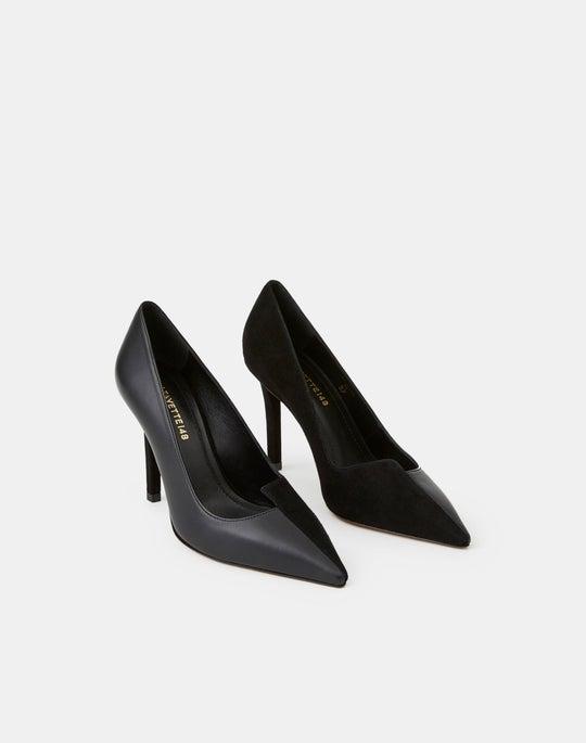 Suede & Leather Marilyn Asymmetric Heel