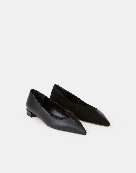 Suede & Leather Mica Asymmetric Flat