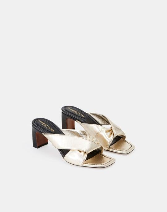Crinkled Leather Alaine Twisted Mule
