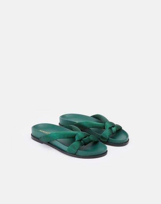 Satin Honore Flat Sandal