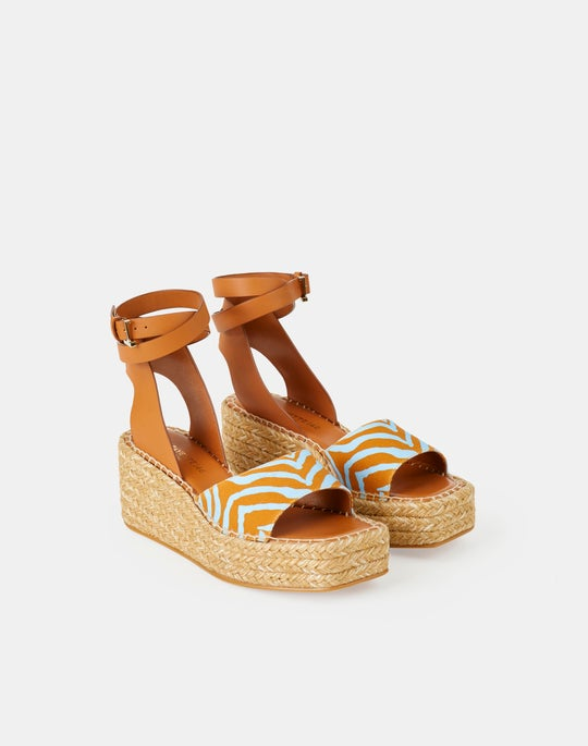 Margot Espadrille Wedge In Canvas & Nappa Leather