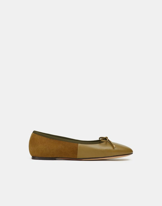 Elena Ballet Flat In Nappa Leather & Suede