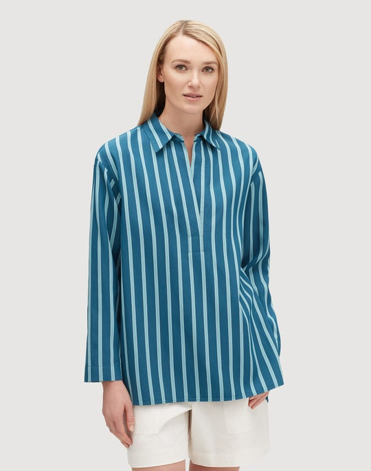 Plus-Size Mediterranean Stripe Beckett Shirt