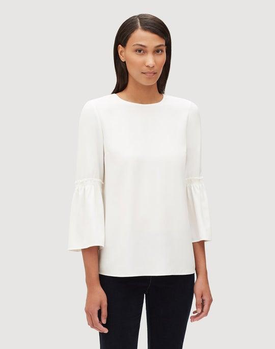 Plus-Size Matte Silk Roslin Blouse