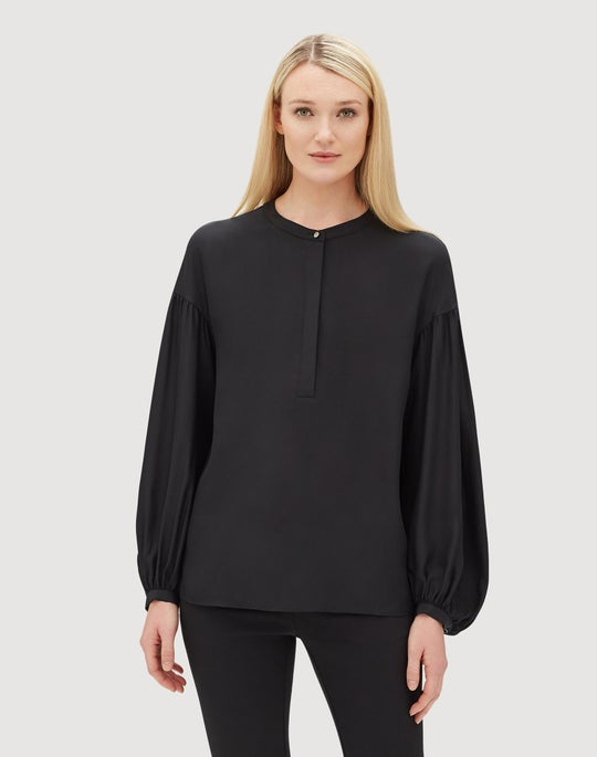 Plus-Size Matte Silk Kenzie Blouse